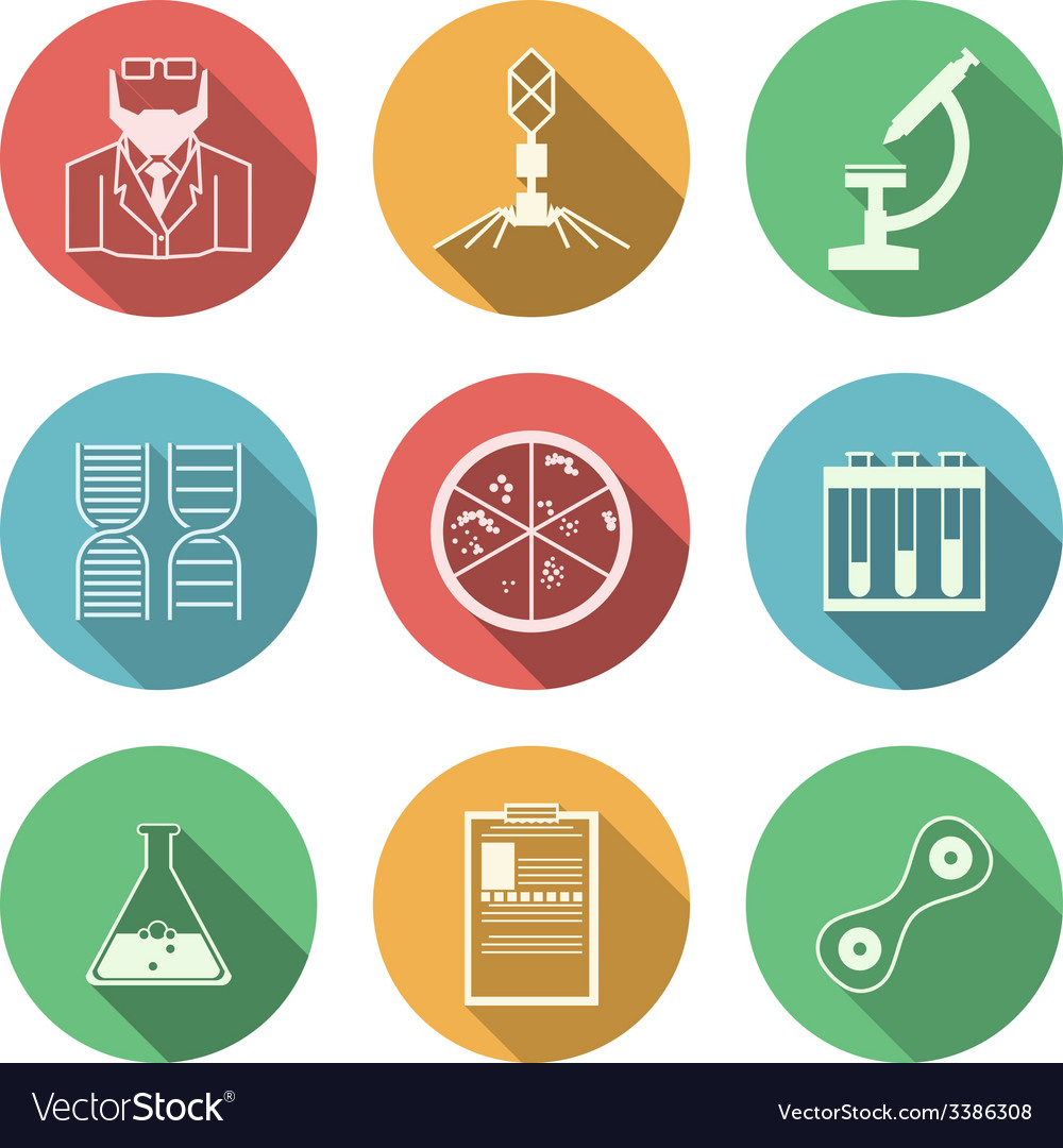 Colored icons for bacteriology vector | Price: 1 Credit (USD $1)