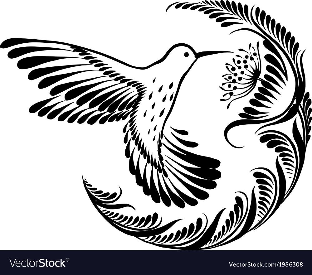 Decorative silhouette hummingbird in flight vector | Price: 1 Credit (USD $1)
