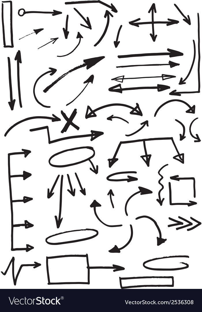 Hand drawn doodle arrows set vector | Price: 1 Credit (USD $1)