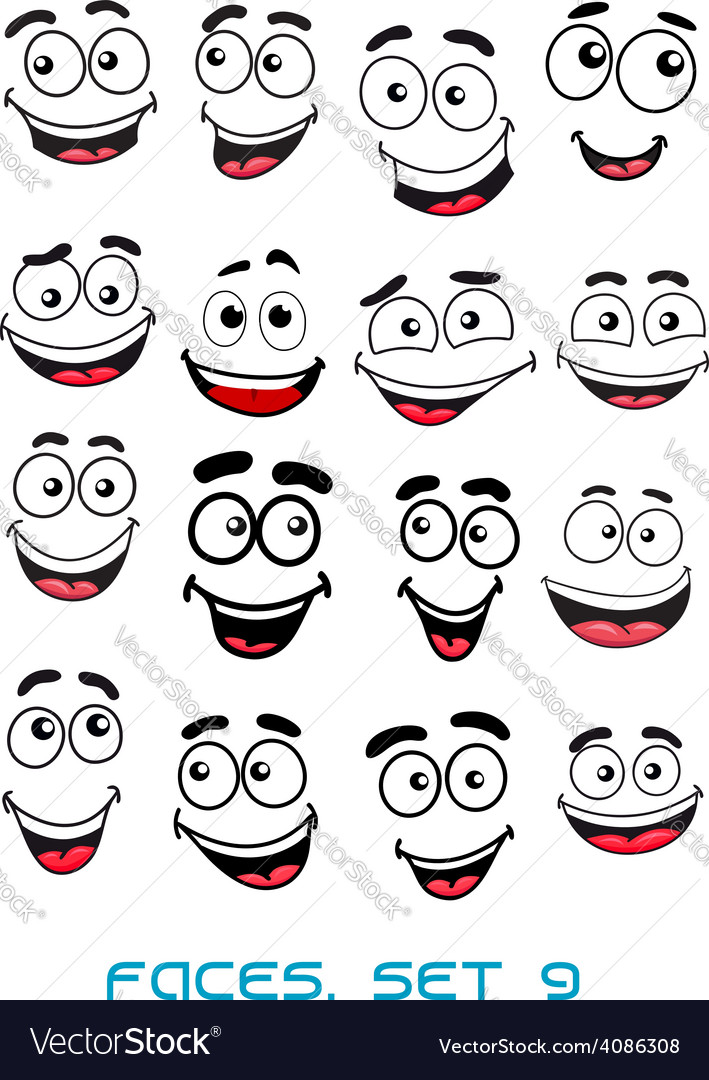 Happiness and smiling people faces vector | Price: 1 Credit (USD $1)