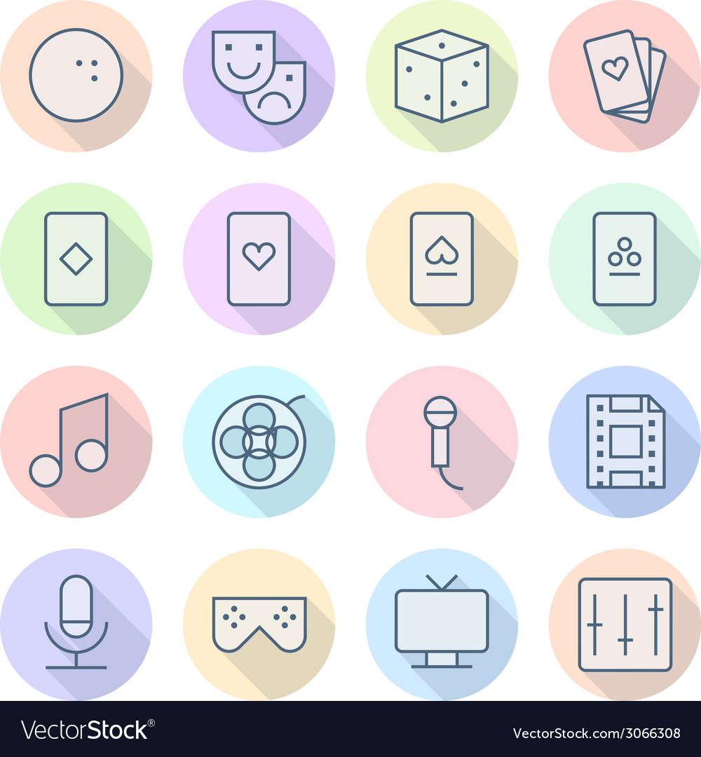 Icons line round leisure thin vector | Price: 1 Credit (USD $1)