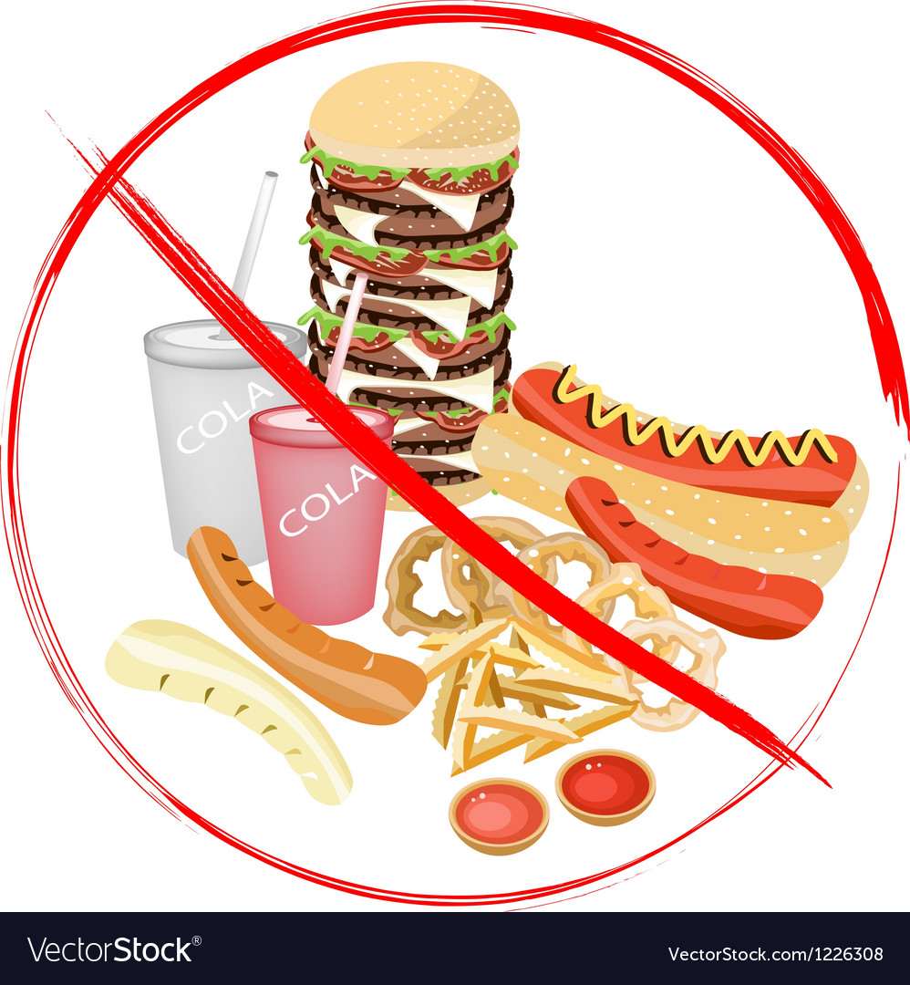 No eat carbonated drinks and fast food vector | Price: 3 Credit (USD $3)