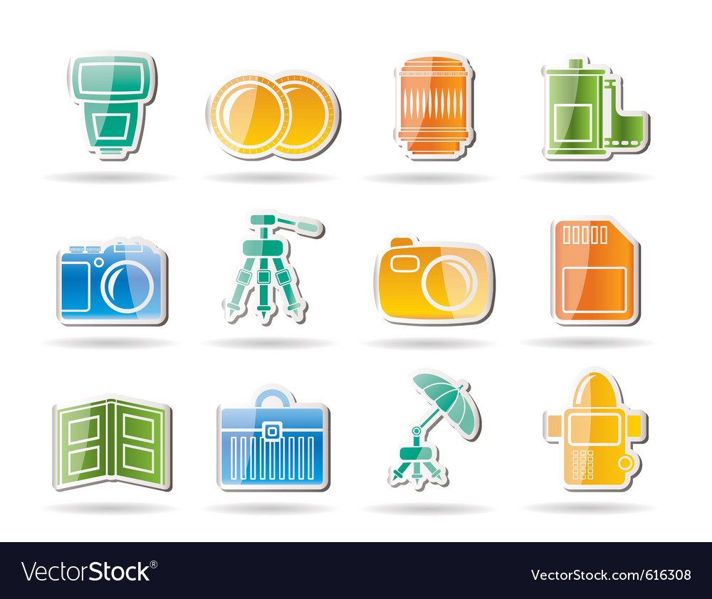 Photography equipment icons vector | Price: 1 Credit (USD $1)