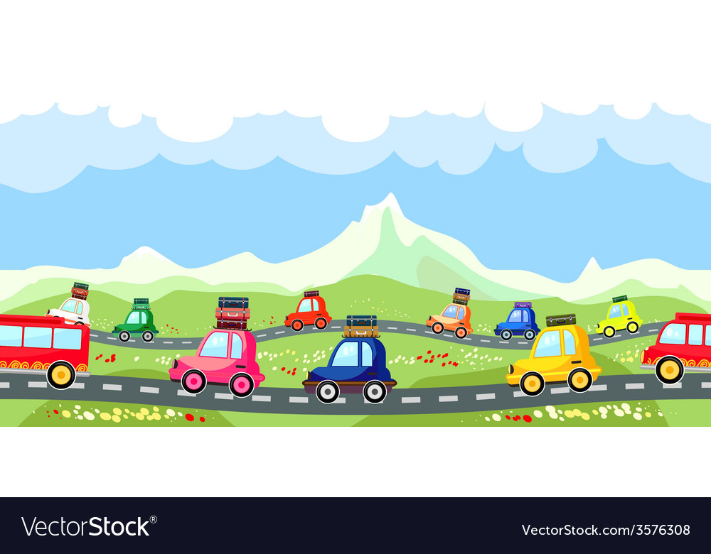 Rural road with a line of tourist traffic vector | Price: 1 Credit (USD $1)