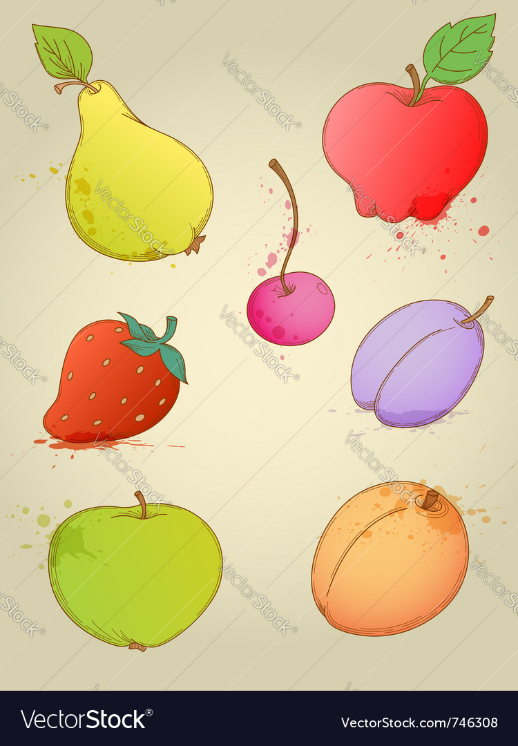 Set of hand drawn bright fruits vector | Price: 1 Credit (USD $1)