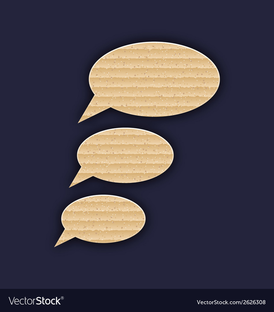 Speech bubbles made in carton texture vector | Price: 1 Credit (USD $1)