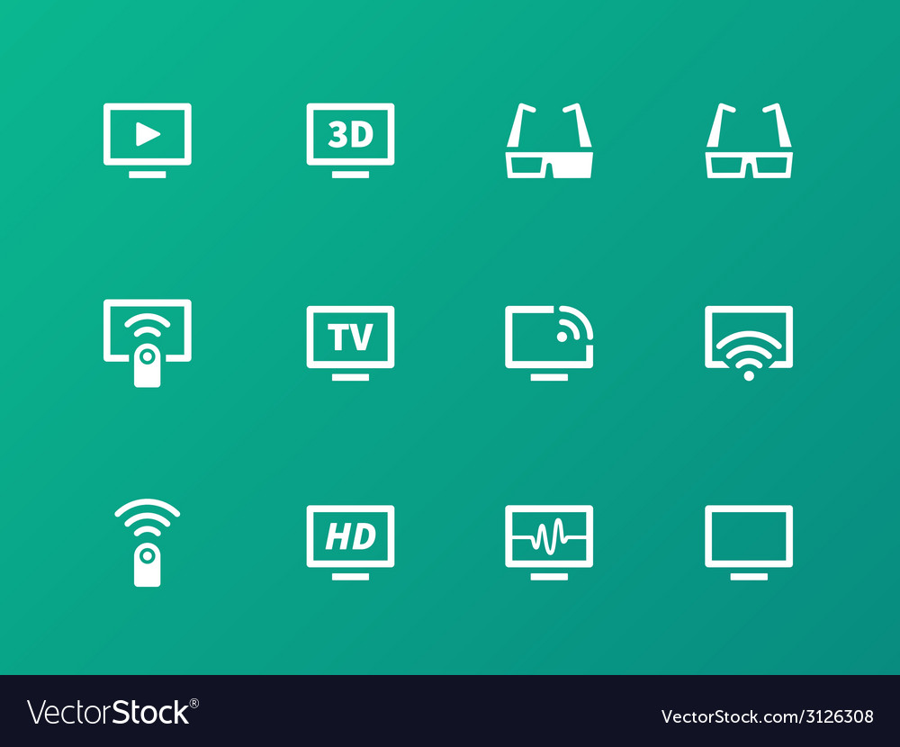 Tv icons on green background vector | Price: 1 Credit (USD $1)