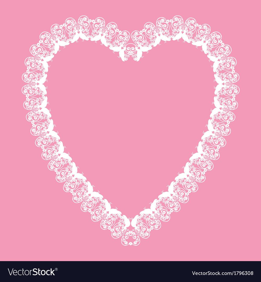 Valentine white lace like heart shape frame vector | Price: 1 Credit (USD $1)
