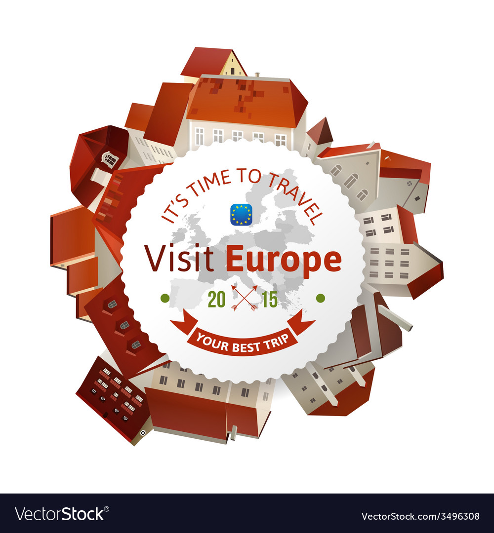 Visit europe emblem with city landscape vector | Price: 1 Credit (USD $1)