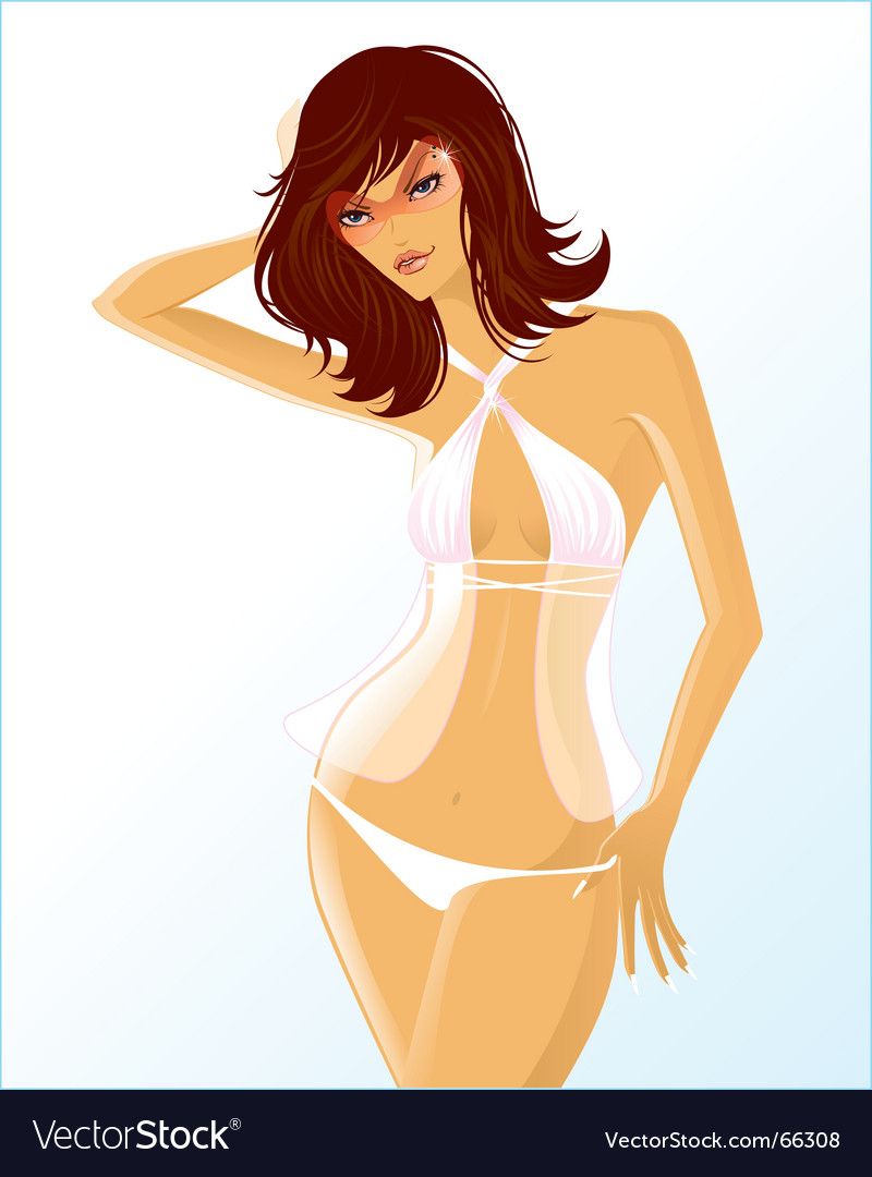 White bikini vector | Price: 3 Credit (USD $3)