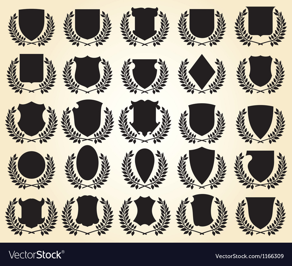 Medieval shields and laurel wreath collection vector | Price: 1 Credit (USD $1)