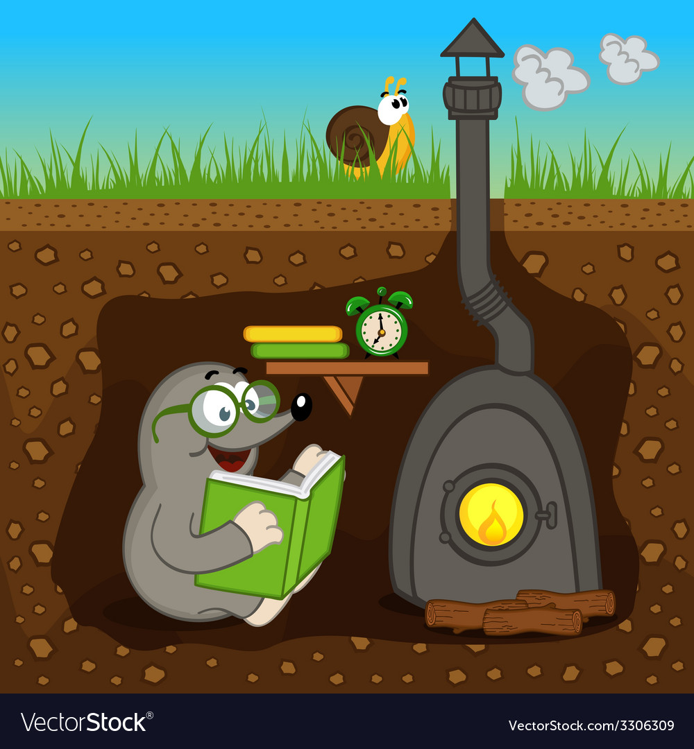 Mole reading book at home vector | Price: 1 Credit (USD $1)