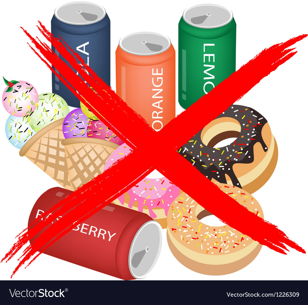 No eat sweet drinks and sweet food vector | Price: 3 Credit (USD $3)