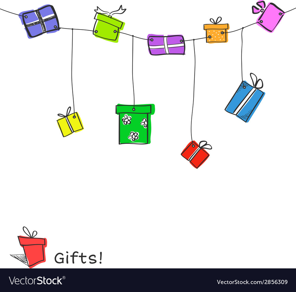 Sketch gift boxes garland vector | Price: 1 Credit (USD $1)