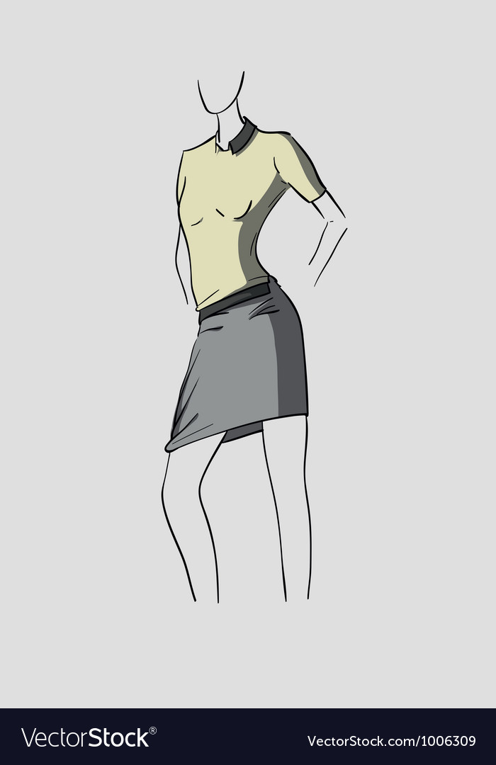 Woman in grey skirt vector | Price: 3 Credit (USD $3)