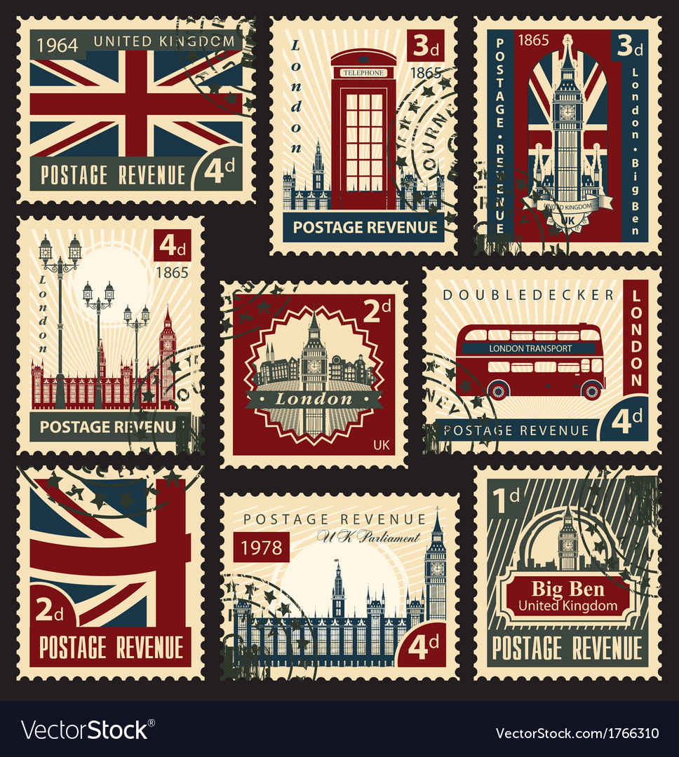British postage stamps vector | Price: 3 Credit (USD $3)