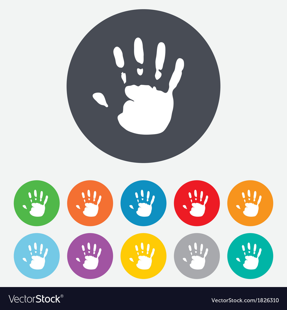 Hand print sign icon stop symbol vector | Price: 1 Credit (USD $1)