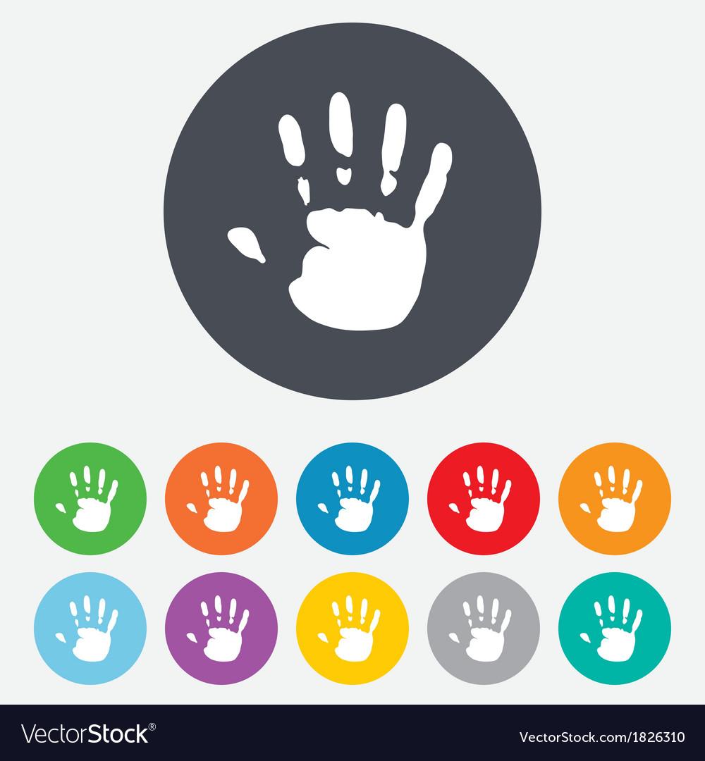 Hand print sign icon stop symbol vector | Price: 1 Credit (USD $1)