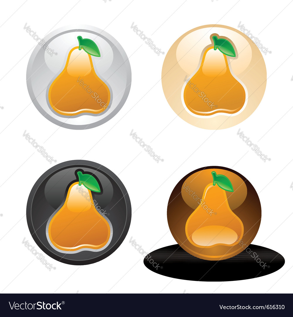 Pear button set web 20 icons vector | Price: 1 Credit (USD $1)