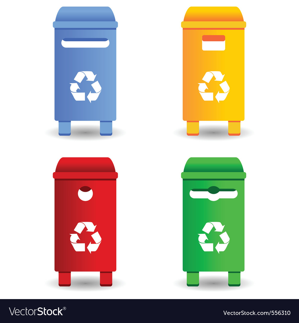 Recycling trash containers vector | Price: 1 Credit (USD $1)
