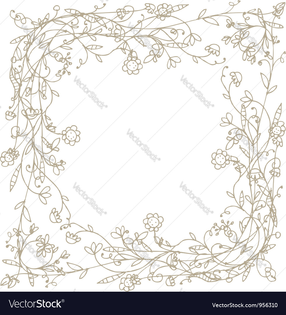 Sketch of floral frame for your design vector | Price: 1 Credit (USD $1)