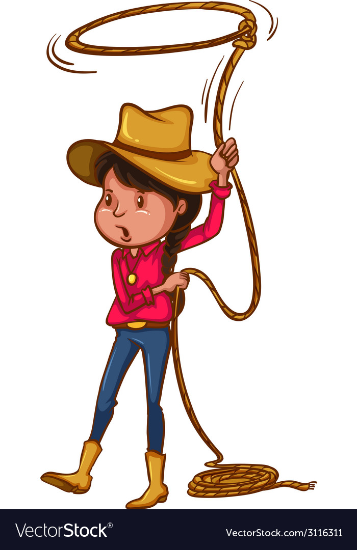 A coloured drawing of a cowgirl vector | Price: 1 Credit (USD $1)