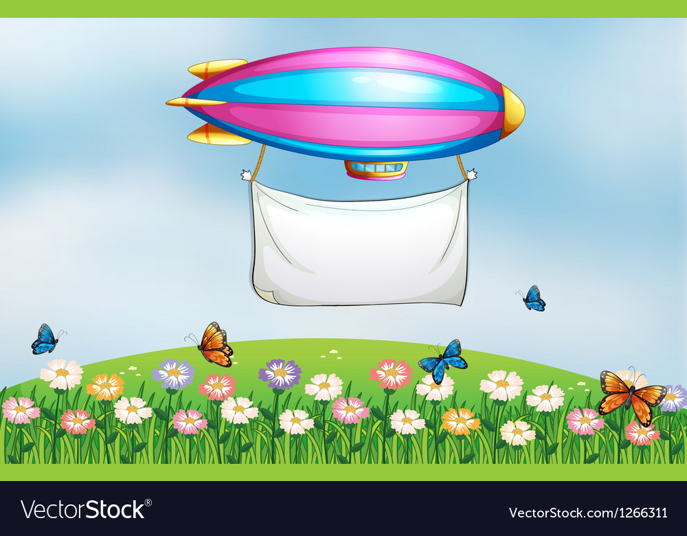 An aircraft above the garden with a banner vector | Price: 1 Credit (USD $1)