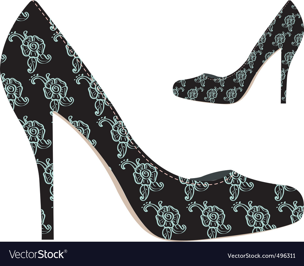 Black woman shoes with flowers vector | Price: 1 Credit (USD $1)