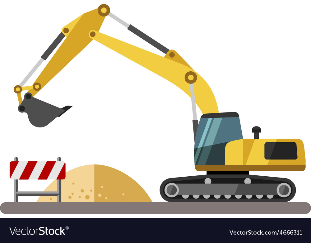Construction equipment and machinery - excavator vector | Price: 1 Credit (USD $1)