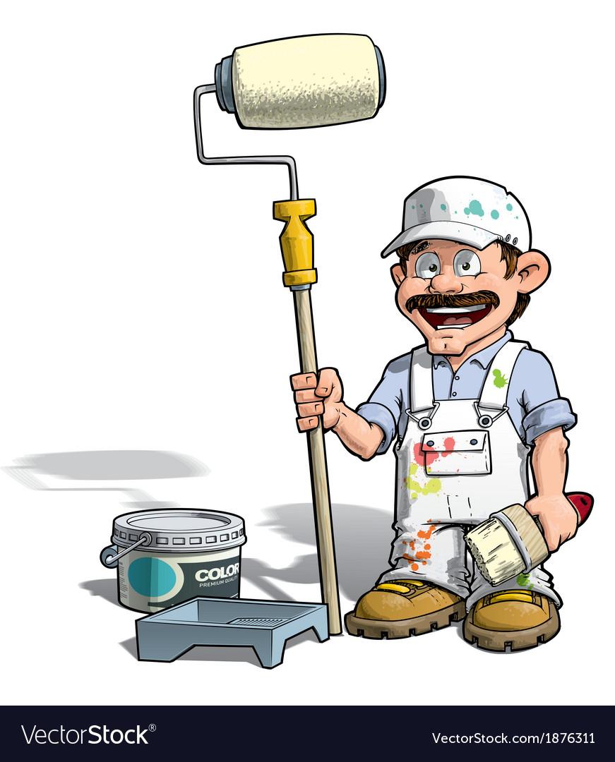 Handyman painter white uniform vector | Price: 3 Credit (USD $3)