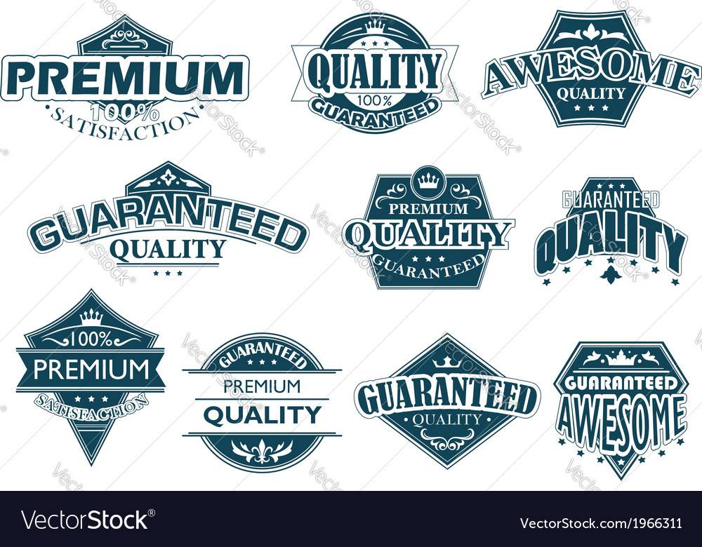 Labels set denoting premium quality vector | Price: 1 Credit (USD $1)