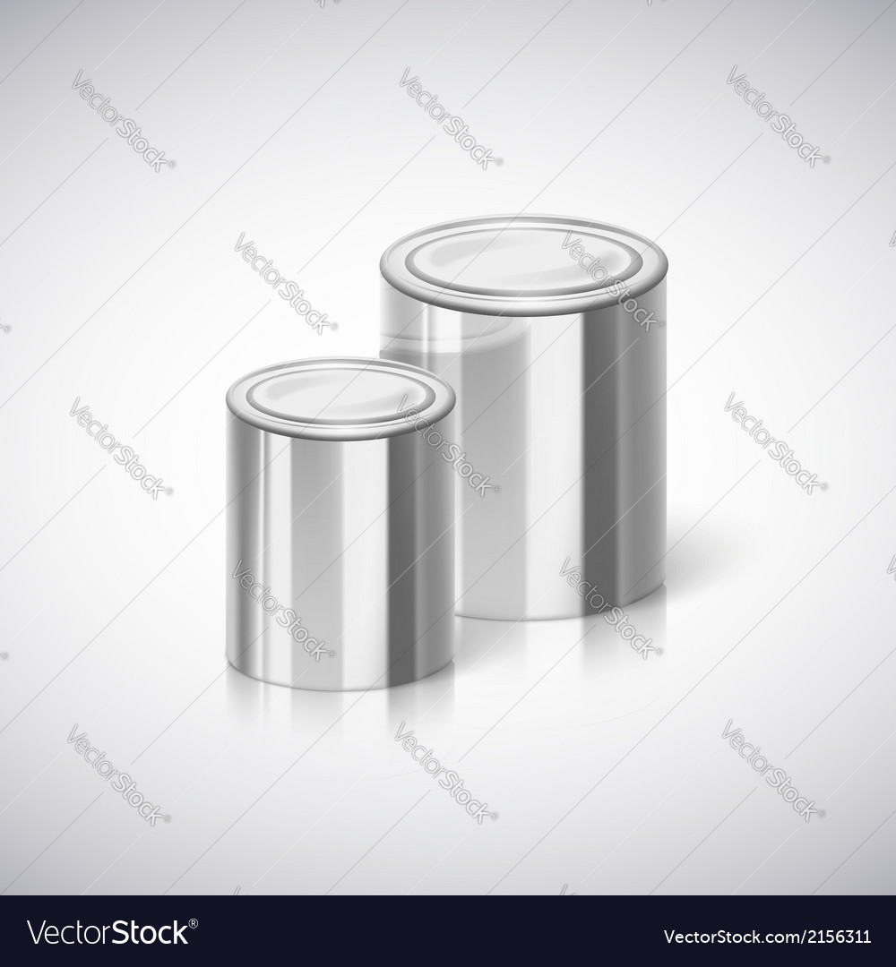 Metal cans with reflection and shadow vector | Price: 1 Credit (USD $1)