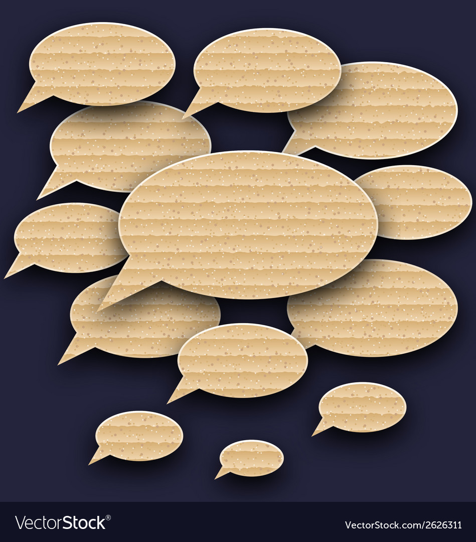 Set speech bubbles made in carton texture vector | Price: 1 Credit (USD $1)
