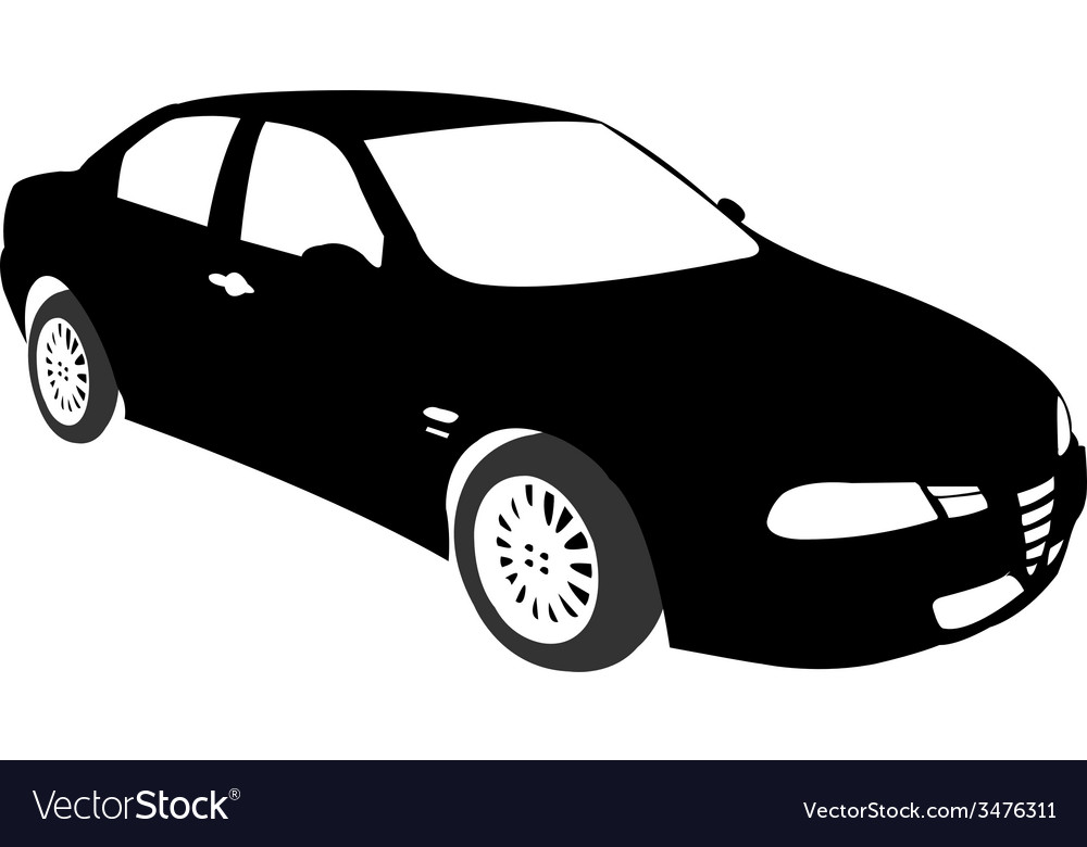 Silhouette of car black vector | Price: 1 Credit (USD $1)