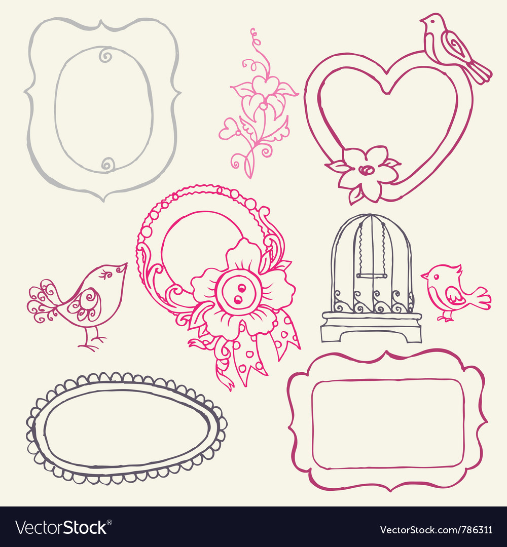 Sweet doodle frames vector | Price: 1 Credit (USD $1)