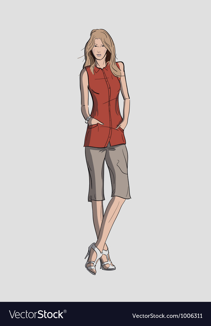 Woman in a long blouse and short trousers vector   Price: 3 Credit (USD $3)