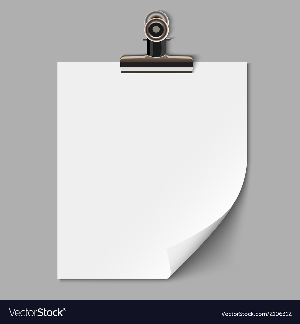 Blank sheet of paper with clamp vector | Price: 1 Credit (USD $1)
