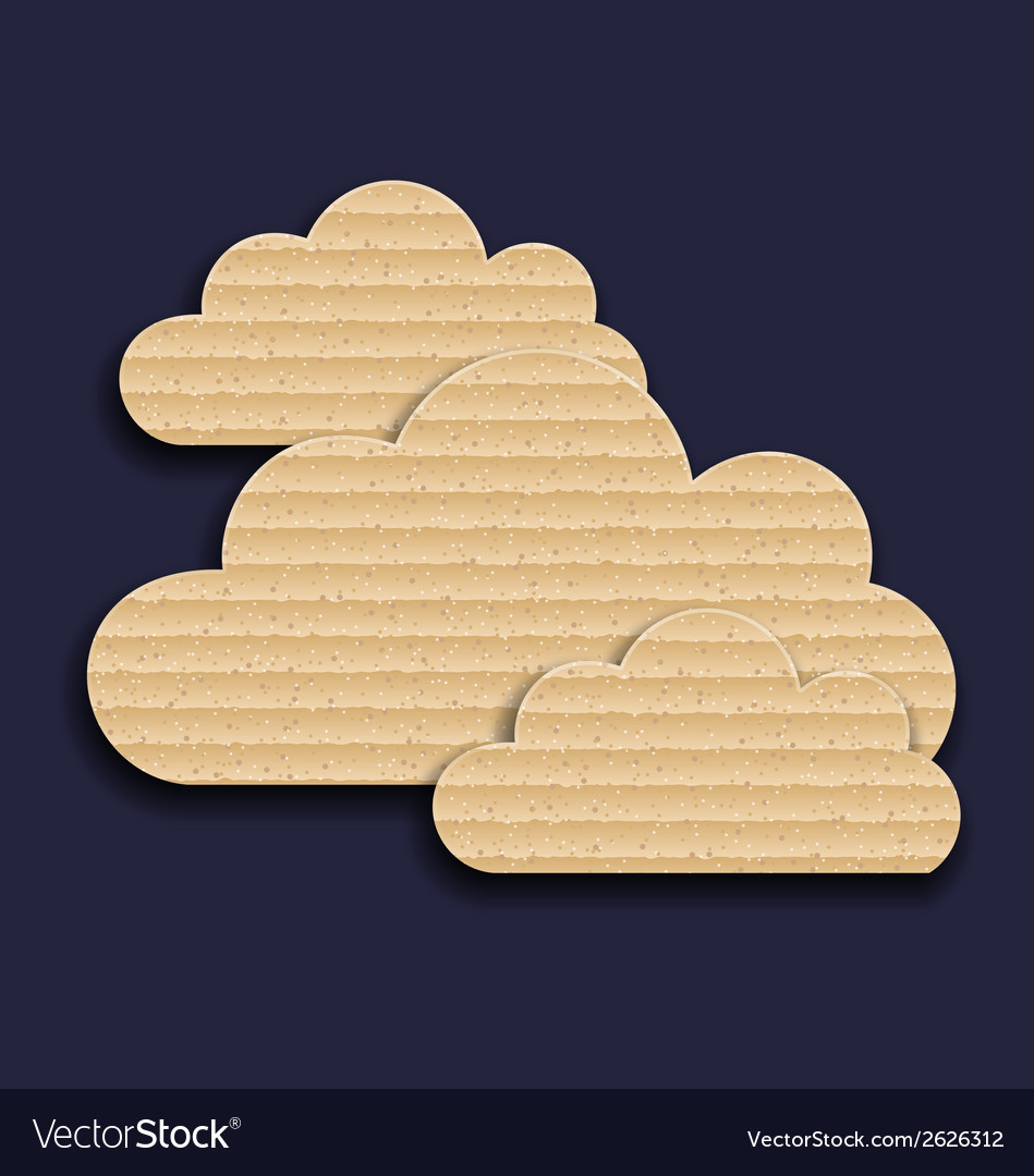 Carton paper clouds isolated on dark background vector | Price: 1 Credit (USD $1)