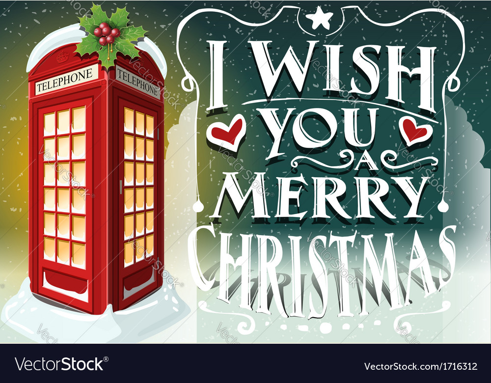 Christmas greeting card with english red cabin vector | Price: 1 Credit (USD $1)