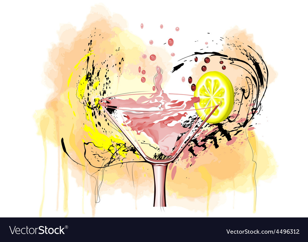 Coctail and lemon vector