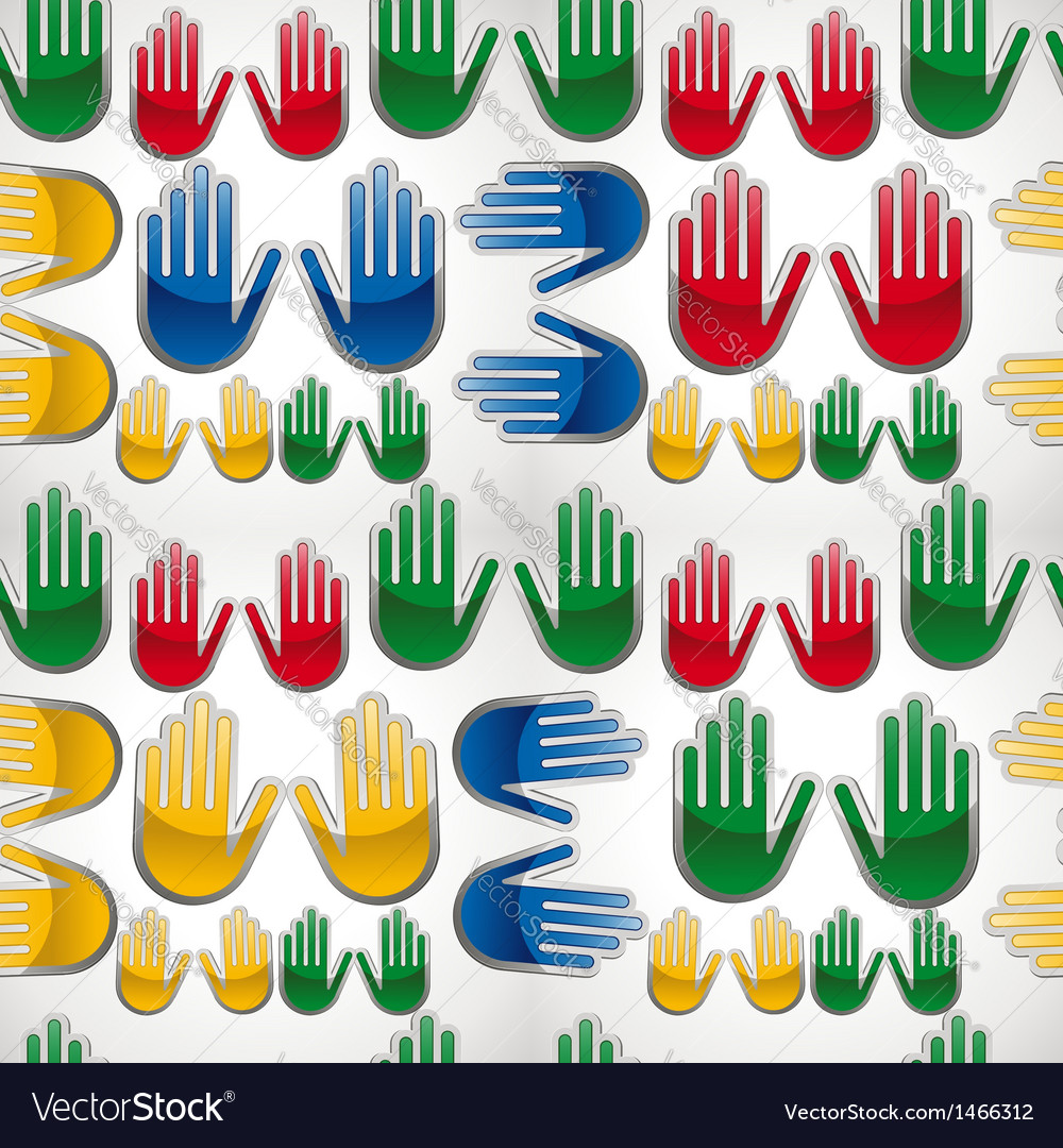 Diversity glossy hands up pattern vector | Price: 1 Credit (USD $1)