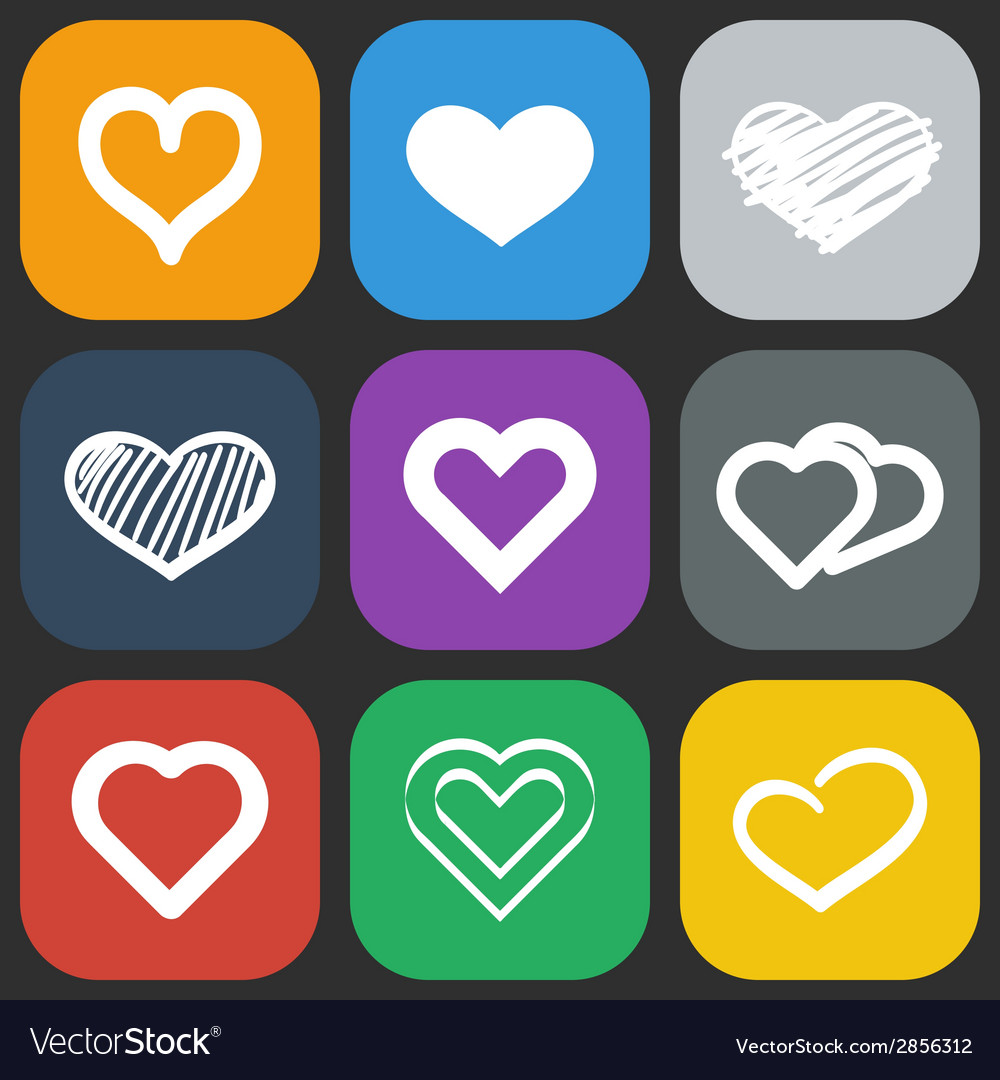 Hearts icons set vector | Price: 1 Credit (USD $1)