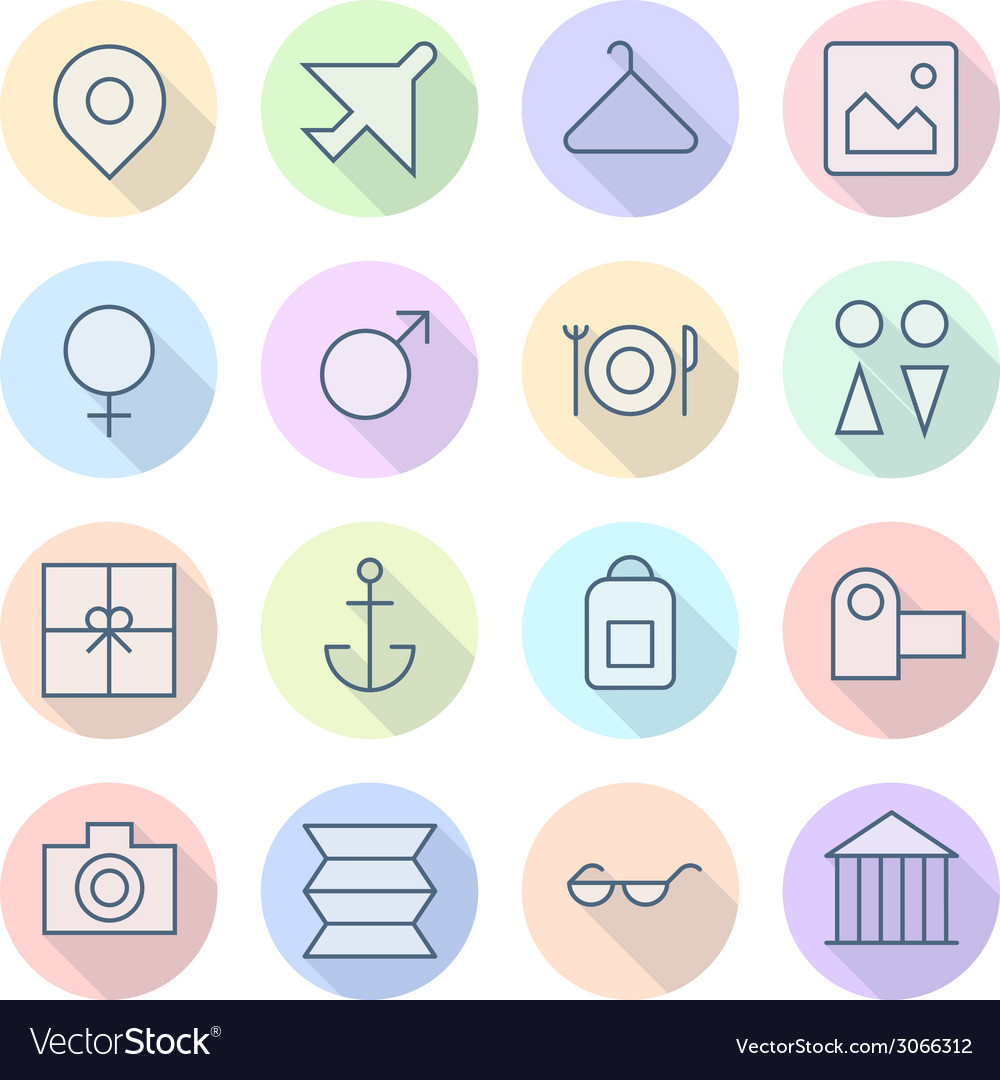 Icons line round resort thin vector | Price: 1 Credit (USD $1)