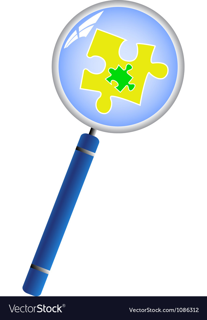 Magnifying glass analyzing the puzzle concept vector | Price: 1 Credit (USD $1)