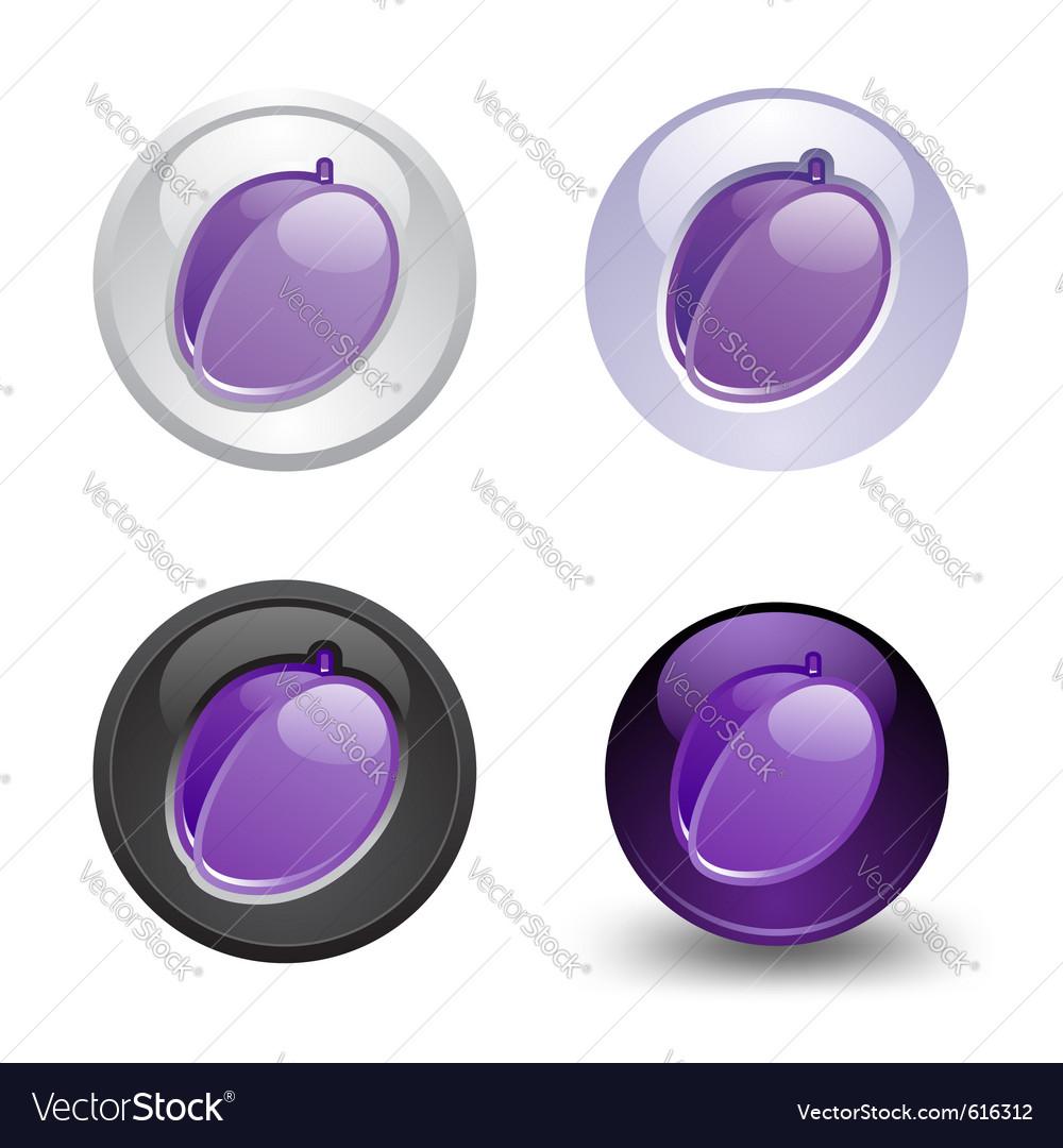 Plum button set web 20 icons vector | Price: 1 Credit (USD $1)