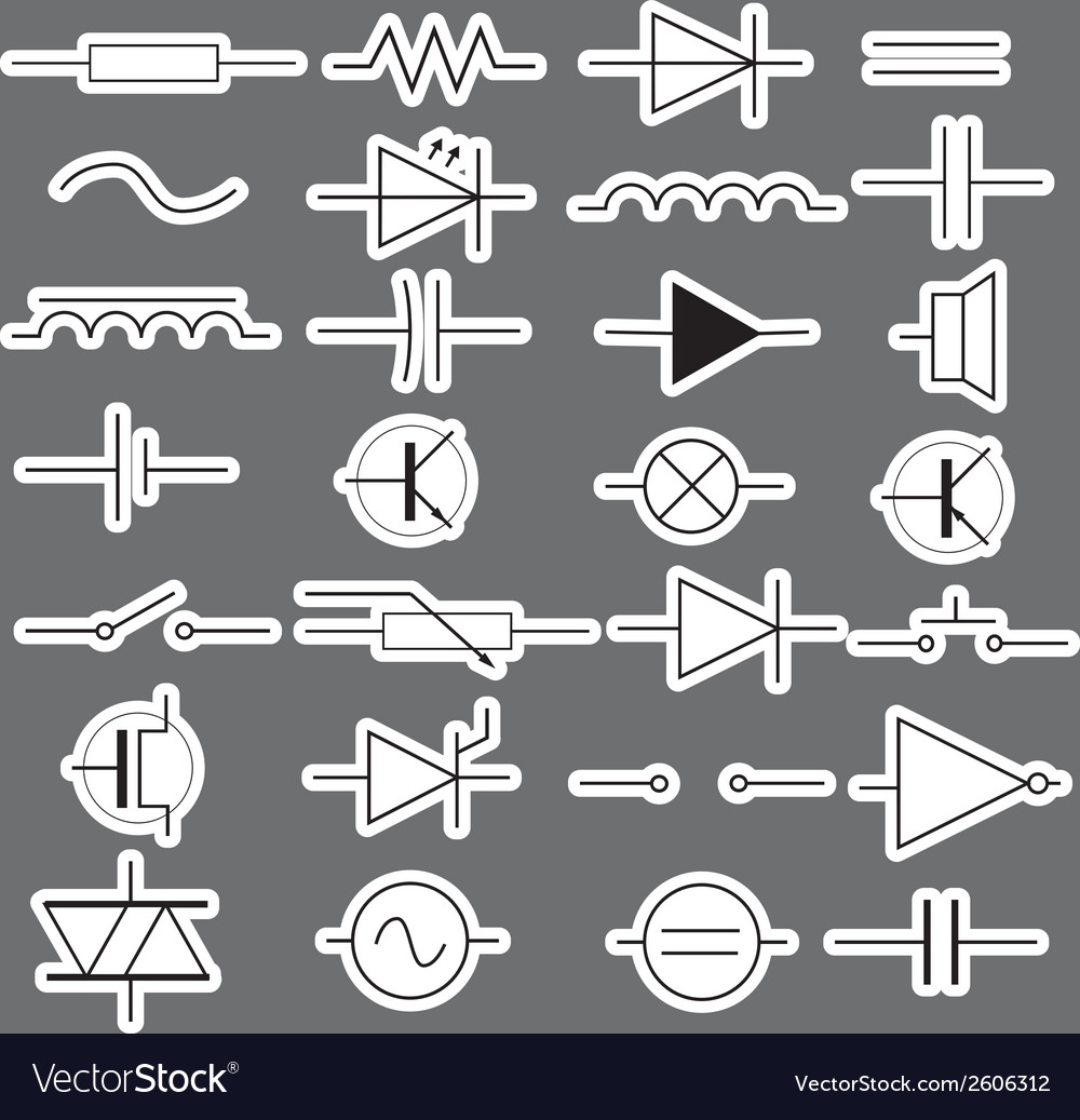 Schematic symbols in electrical engineering vector | Price: 1 Credit (USD $1)