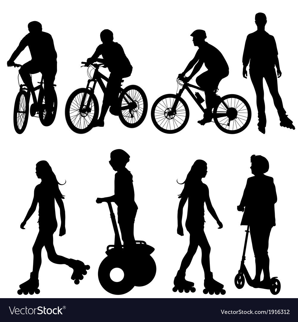 Set silhouette of a cyclist vector | Price: 1 Credit (USD $1)