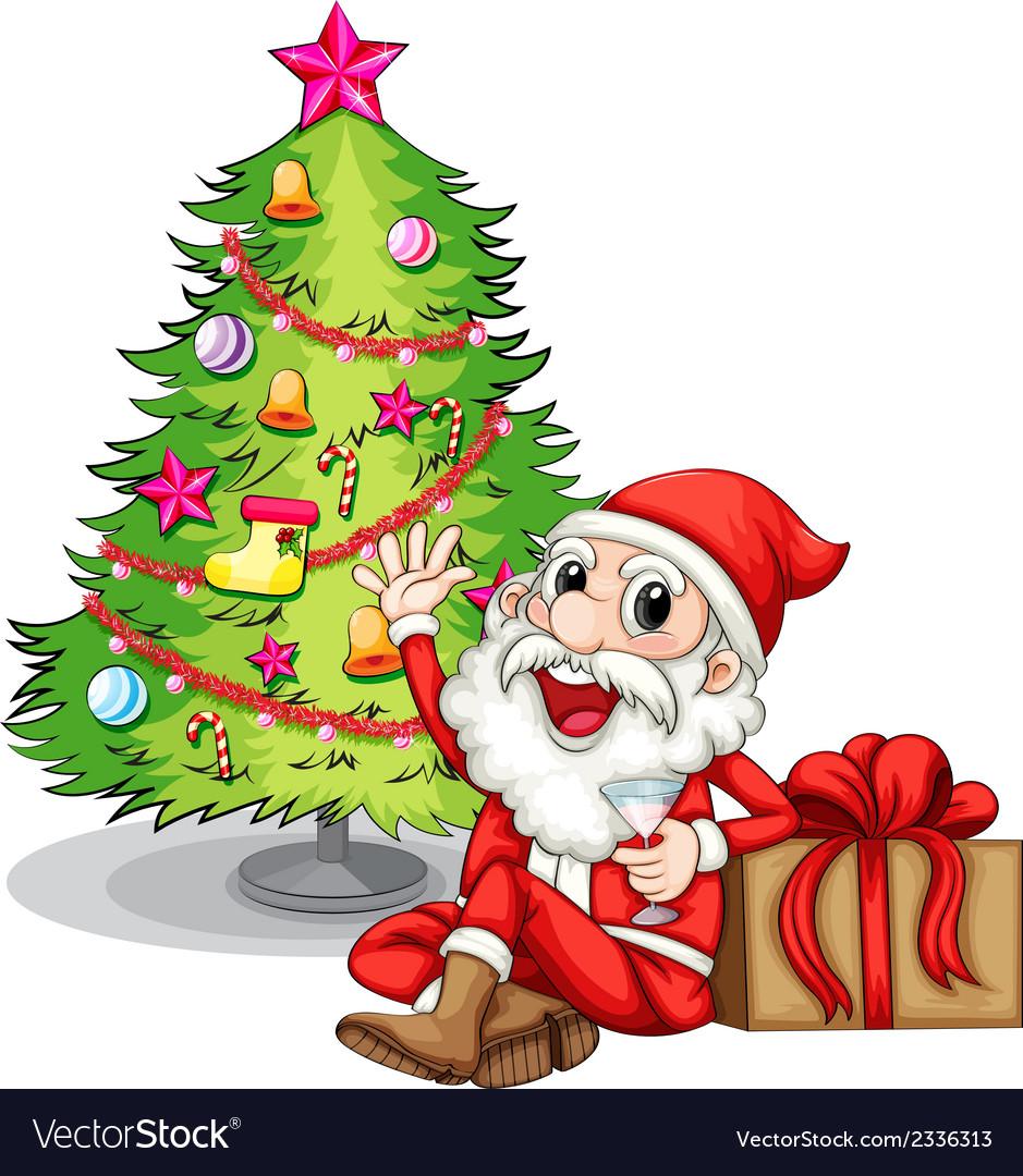 A happy santa near the christmas tree vector   Price: 3 Credit (USD $3)