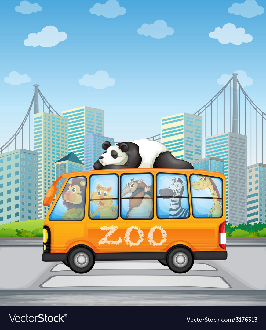 Animals and bus vector | Price: 3 Credit (USD $3)