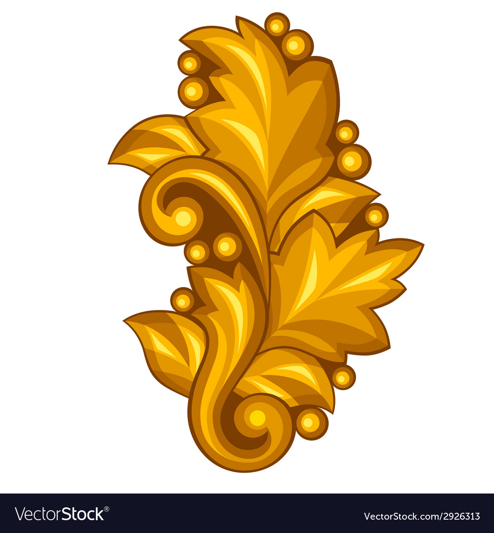 Baroque ornamental antique gold element on white vector | Price: 1 Credit (USD $1)